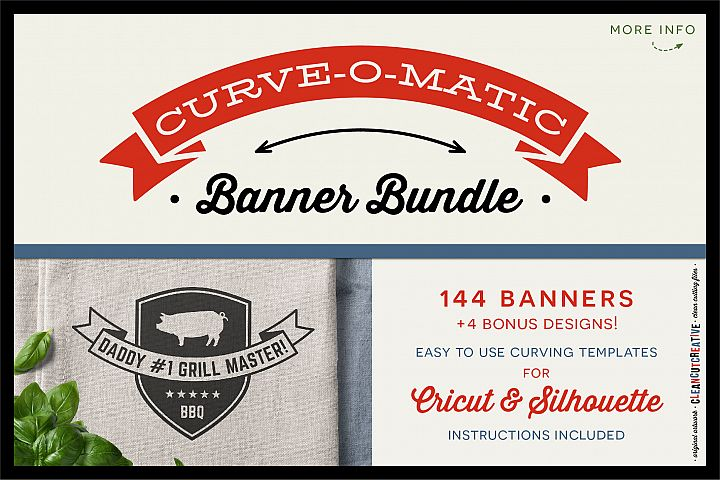CURVE-O-MATIC Banner Bundle - Curved Text Banner Toolkit for Cricut & Silhouette - SVG DXF EPS PNG - clean cutting files