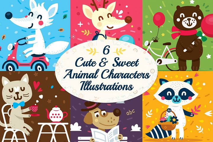 6 Cute Animal Characters Illustrations