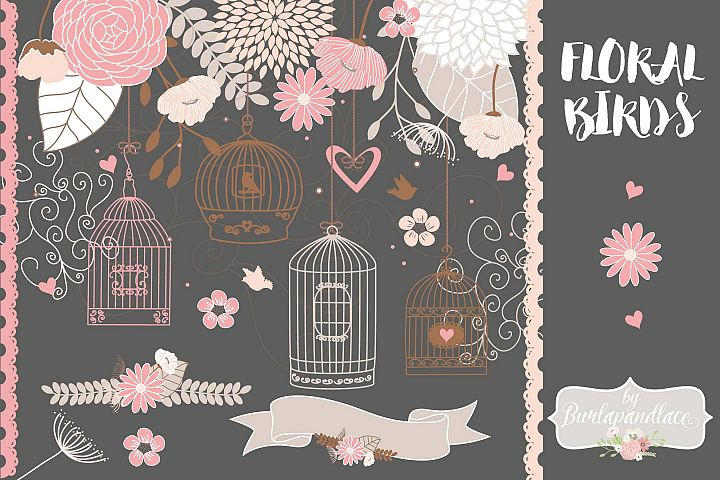 Vector Bird cage flower clip art