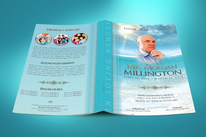 Oceanic Funeral Program Small Template – 4 Pages