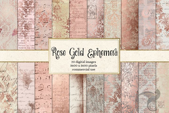 Rose Gold Ephemera Digital Paper