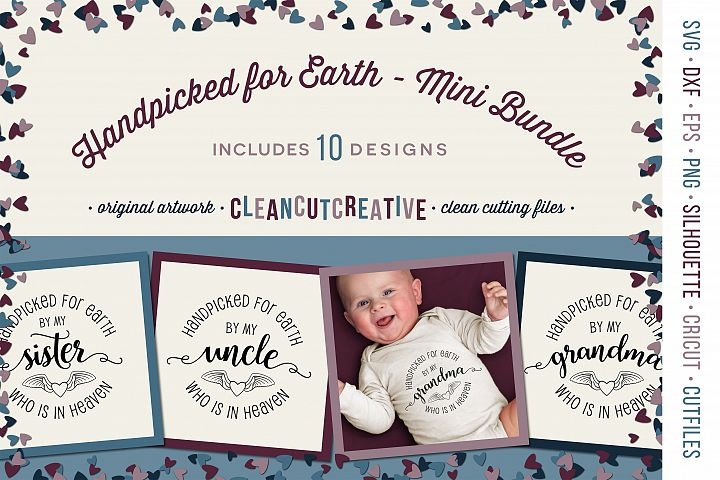 Handpicked for Earth Mini Bundle SET of 10 for newborn baby SVG DXF EPS PNG clean cutting files
