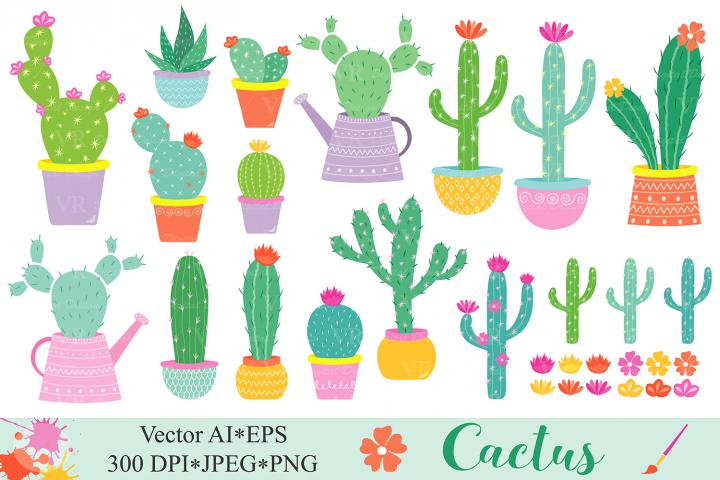 Cactus clipart / Cacti plants clip art / Cute potted cactuses vector graphics / Cactus illustrations