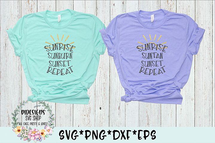 Sunrise Suntan Sunburn Sunset Repeat Bundle SVG PNG DXF EPS