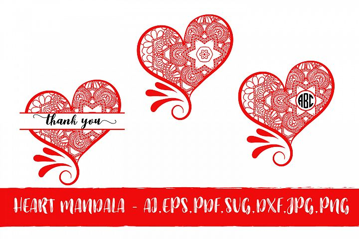 Heart Mandala Monogram Valentines Day