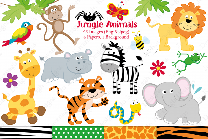 Jungle clipart, Jungle graphics & illustrations, Jungle animals clipart, Jungle Animals graphics & illustrations, Jungle digital papers