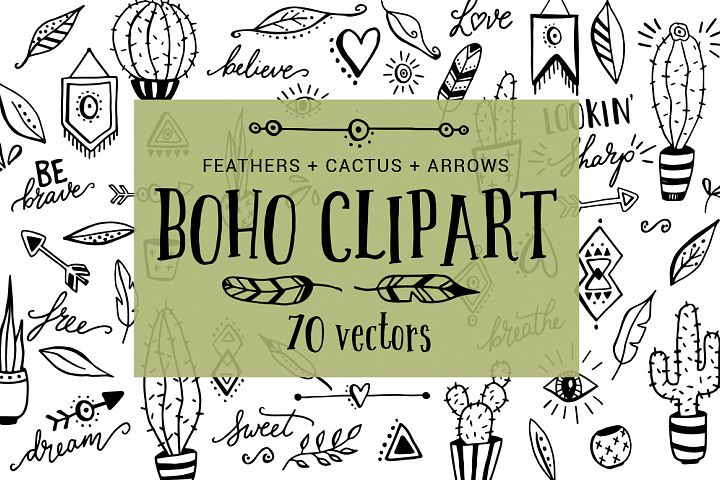 Boho, cactus, feather, arrow clipart doodles