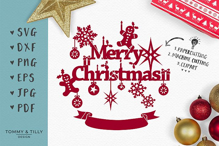 Merry Christmas - SVG EPS DXF PNG PDF JPG Cut File