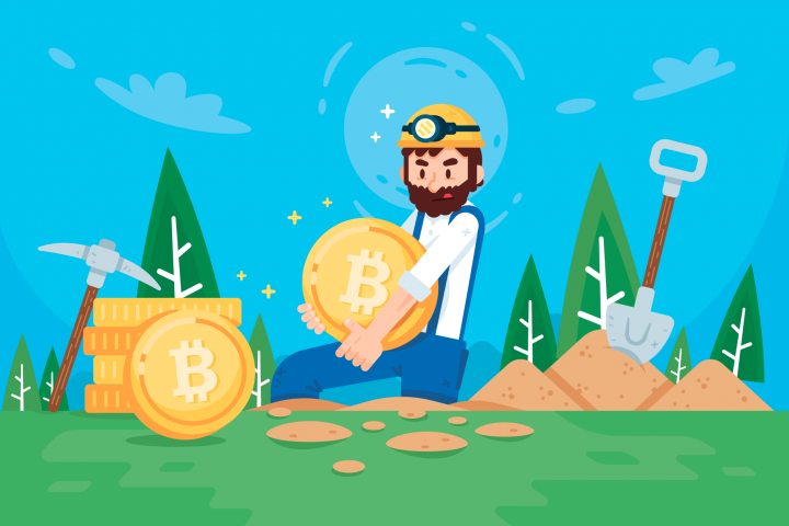 Cryptocurrency Bitcoin Miner Illustration Clipart
