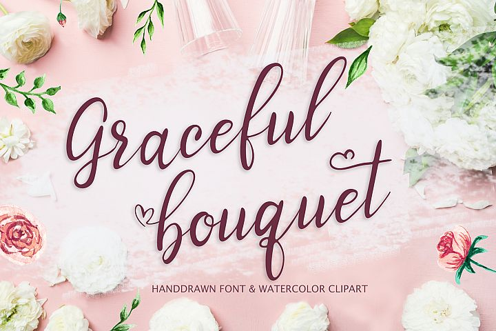 Graceful bouquet-lovely font&clipart