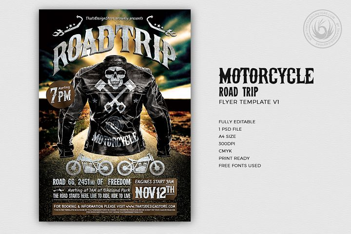 Motorcycle Road Trip Flyer Template V1