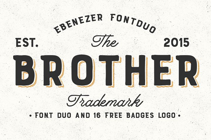 Brother Font Duo + 16 Badges Logo