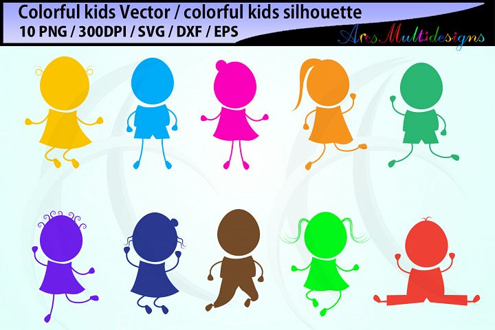 colorful kids graphics and illustration / colorful kids SVG / colorful kids vector