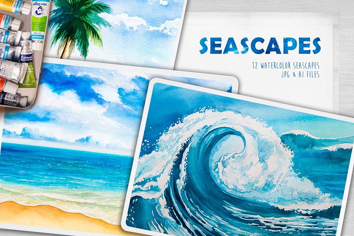 Seascapes. Watercolor illustrations.