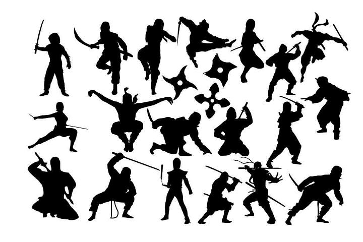 Ninja Silhouette SVG DXF PNG EPS AI
