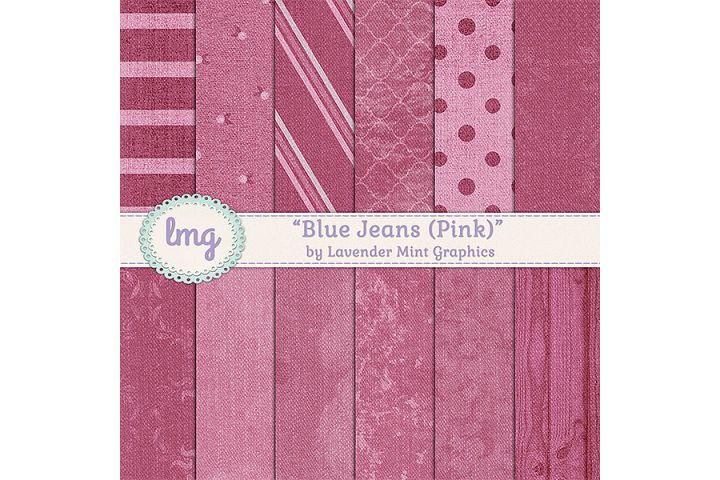 Pink Blue Jean Denim Digital Papers