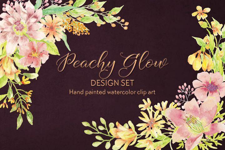 Peachy Glow watercolor clip art bundle