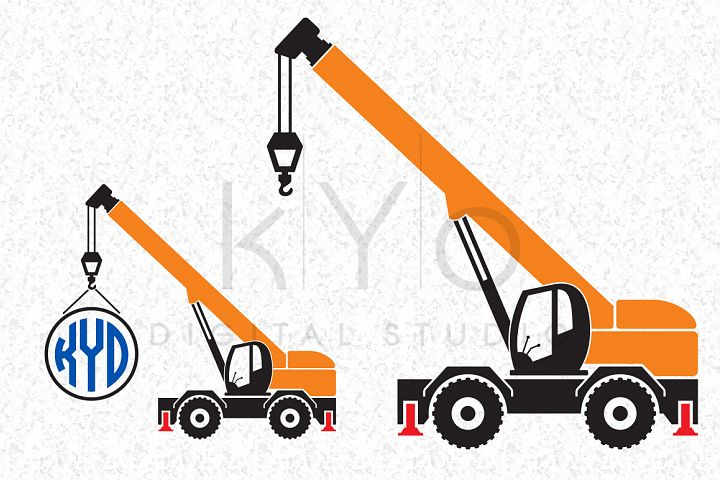 Crane Construction Transport SVG EPS PNG Vector images Transportation Tractor monogram frame cut files for Cricut Silhouette