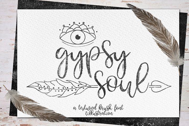 Gypsy Soul.Textured Brush Font+bonus