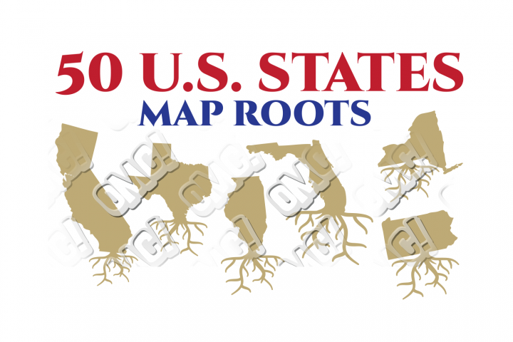 US State Map Root America Bundle in SVG/DXF/PNG/JPEG/EPS
