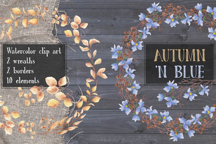 Autumn n Blue: watercolor clip art