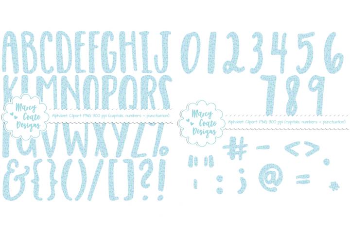 Blue Floral Alphabet Clipart