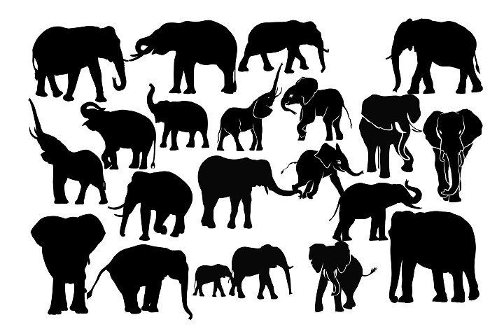 Elephant Silhouette SVG PNG DXF EPS AI