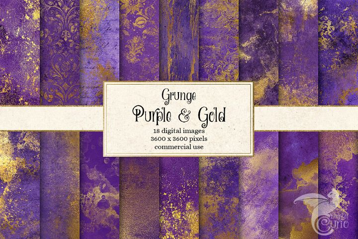Grunge Purple and Gold Textures