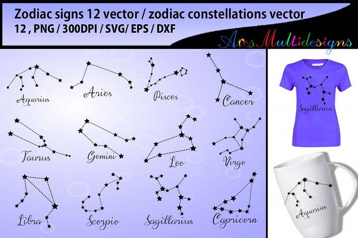 zodiac vector silhouette / zodiac constellations svg vector / zodiac clipart svg / zodiac printable icons / zodiac sign / Svg / EPs / Dxf