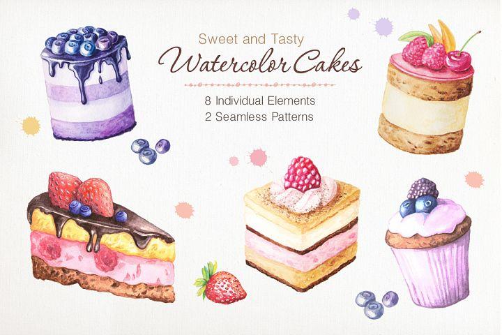 Watercolor Cakes Set