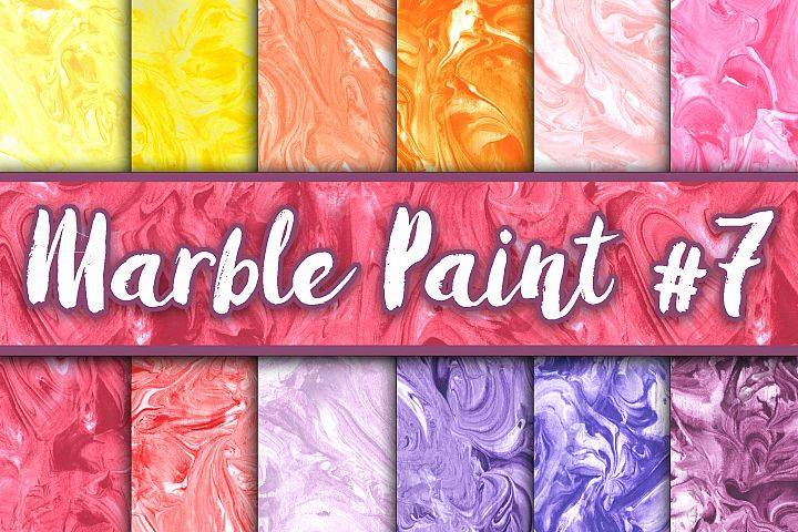 Marble Paint Textures - Set 7 - Yellow, Orange, Pink, Red and Purple