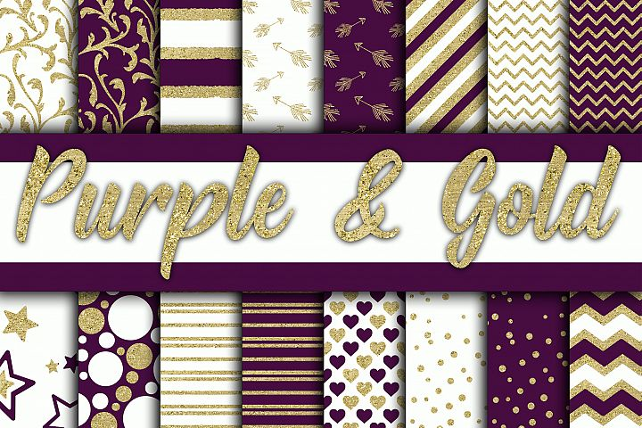 Purple and Gold Glitter Digital Paper