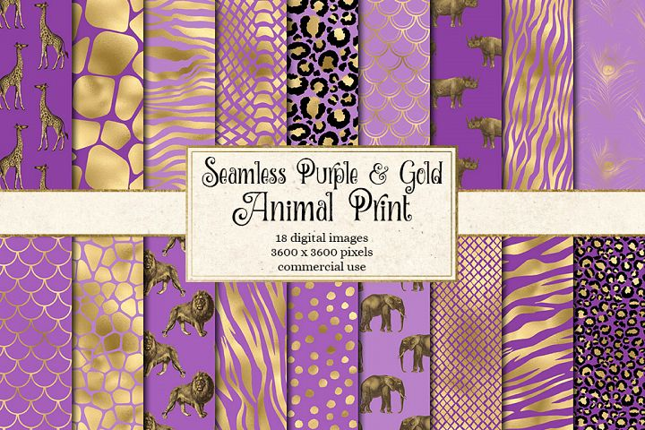 Purple and Gold Animal Print Digital Paper
