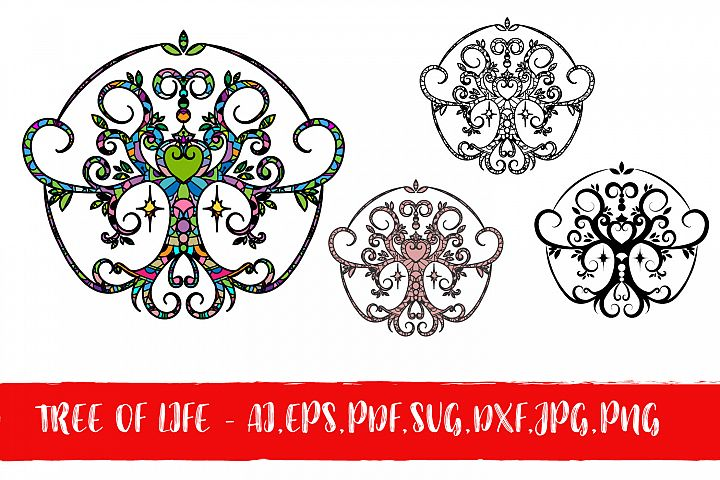Tree of Life with Heart Pack - AI, PDF, EPS, SVG, DXJ, JPG, PNG