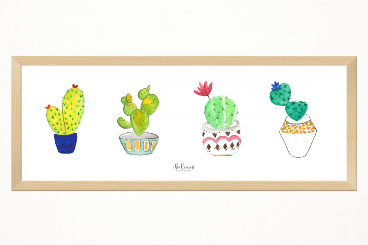 Handmade 4 little cactus art print, 45 x 15 cm, to decor an special place. Room decoration, deco, kitchen, living room. printing. Ready to print