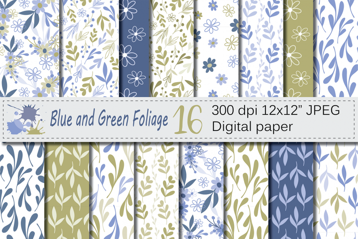 Seamless Blue and Green Hand Drawn Flowers and Leaves Digital Paper / Pastel Foliage Seamless Pattern / Scrapbooking Papers