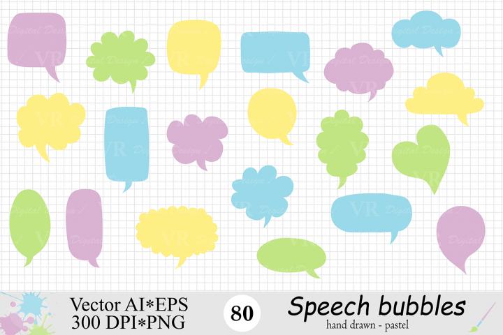 Speech Bubbles Clipart / Chat Bubbles / Hand drawn Text bubbles / Pastel Word Bubbles - Vector