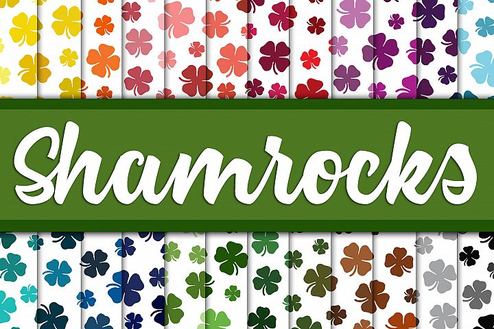 Shamrock Digital Paper - Colorful St Patricks Day Backgrounds