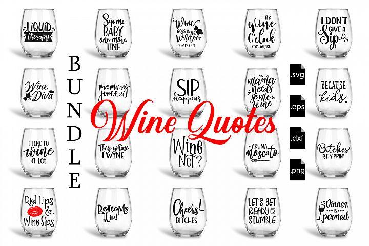 Wine Quotes Bundle SVG, EPS, DXF, PNG