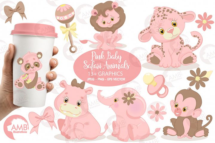 Pink Safari Baby Animals clipart, graphics, illustrations AMB-1209