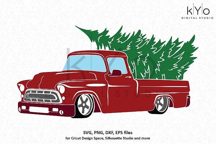 Christmas Red Old Chevy truck SVG DXF PNG EPS files
