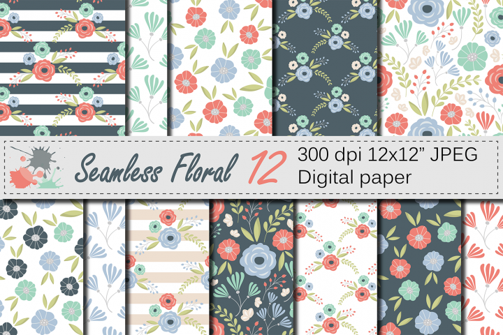 Seamless Floral Pattern / Mother`s Day Digital paper / Mint, Coral Flower Background