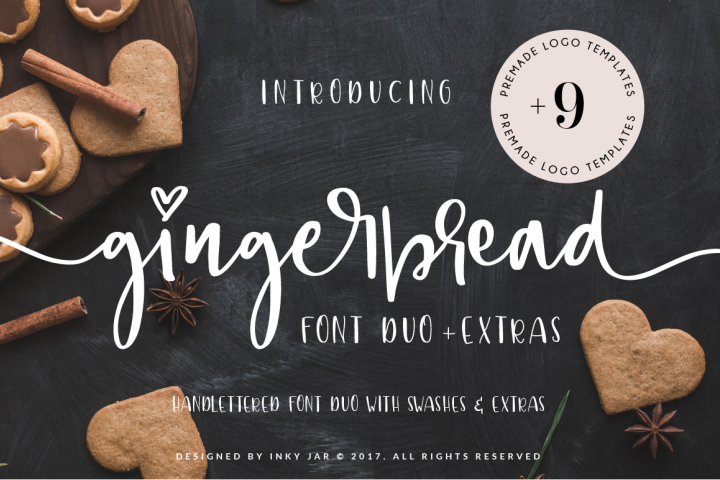 Gingerbread Font Duo + 9 Premade Logo templates