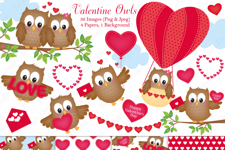 Valentine graphics & illustrations, Valentine clipart, Owl graphics & illustrations, Owl clipart, Valentine digital papers