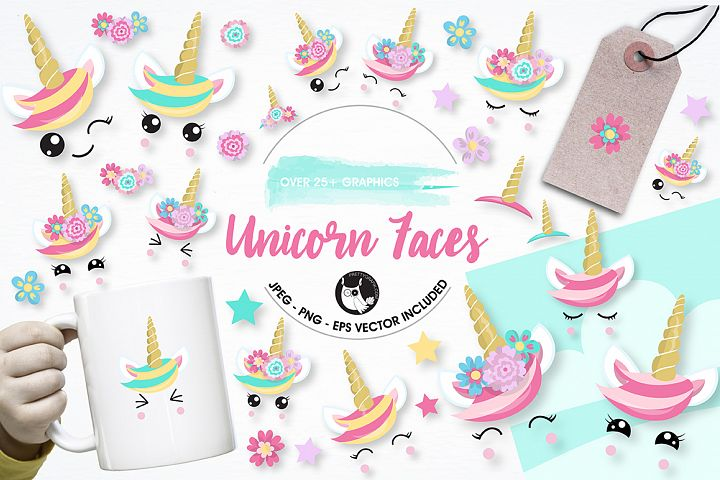 Unicorn faces graphics and illustrations