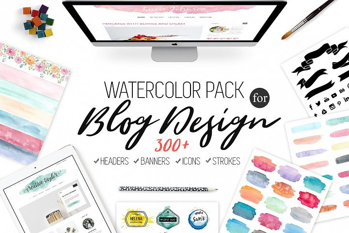 Watercolor Pack for Blog Design