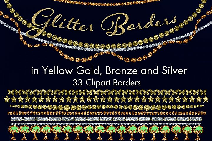 Glitter Borders in Yellow Gold, Bronze and Silver