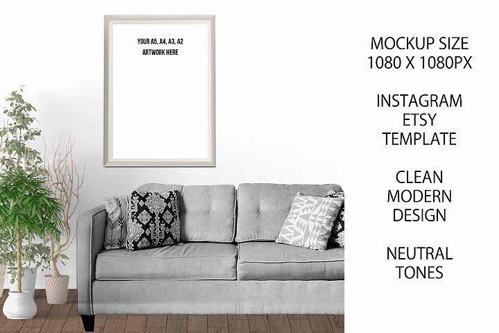 A4 Art Photography Frame Mockup for Etsy / Instagram