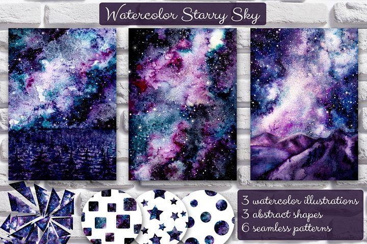 Watercolor Starry Sky Set