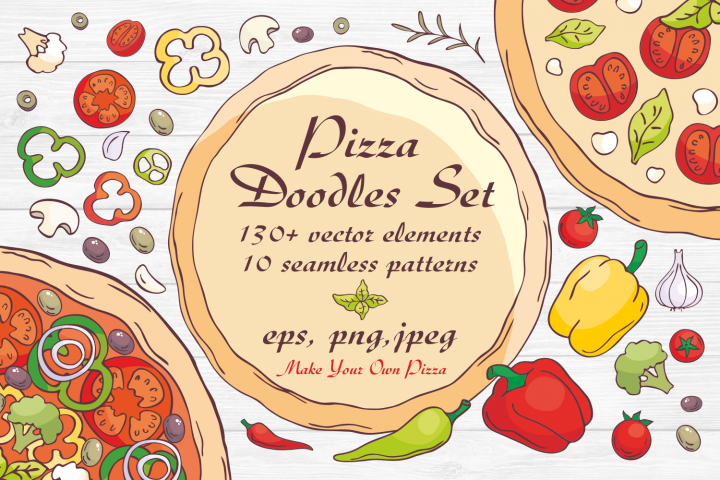 Pizza Doodles set. Vector elements and seamless patterns.